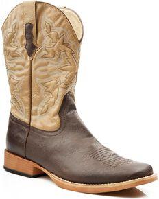 Roper Men's Tan Faux Leather Cowboy Boots - Square Toe, Brown, hi-res