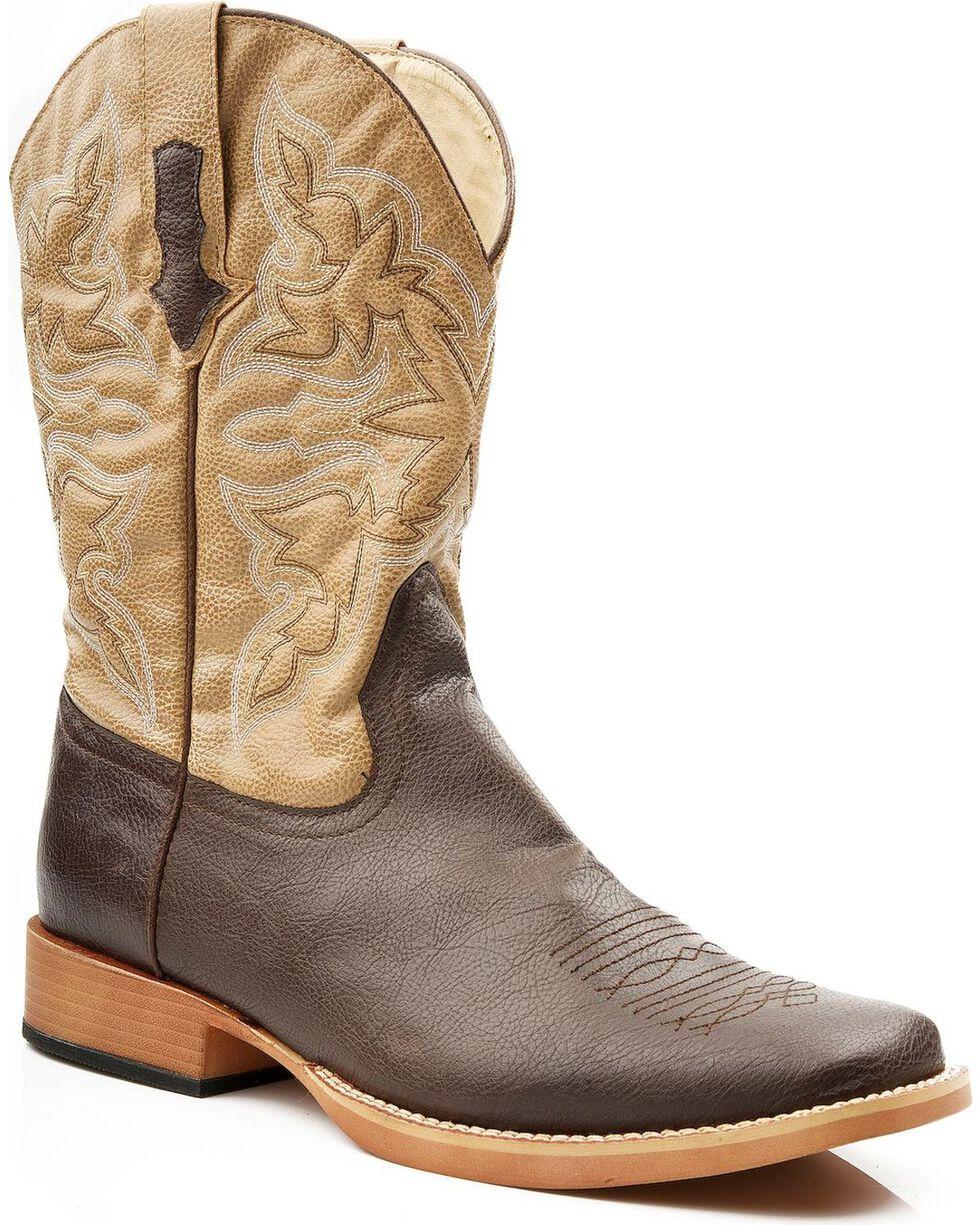 Roper Men's Tan Faux Leather Cowboy Boots - Medium Toe, Brown, hi-res