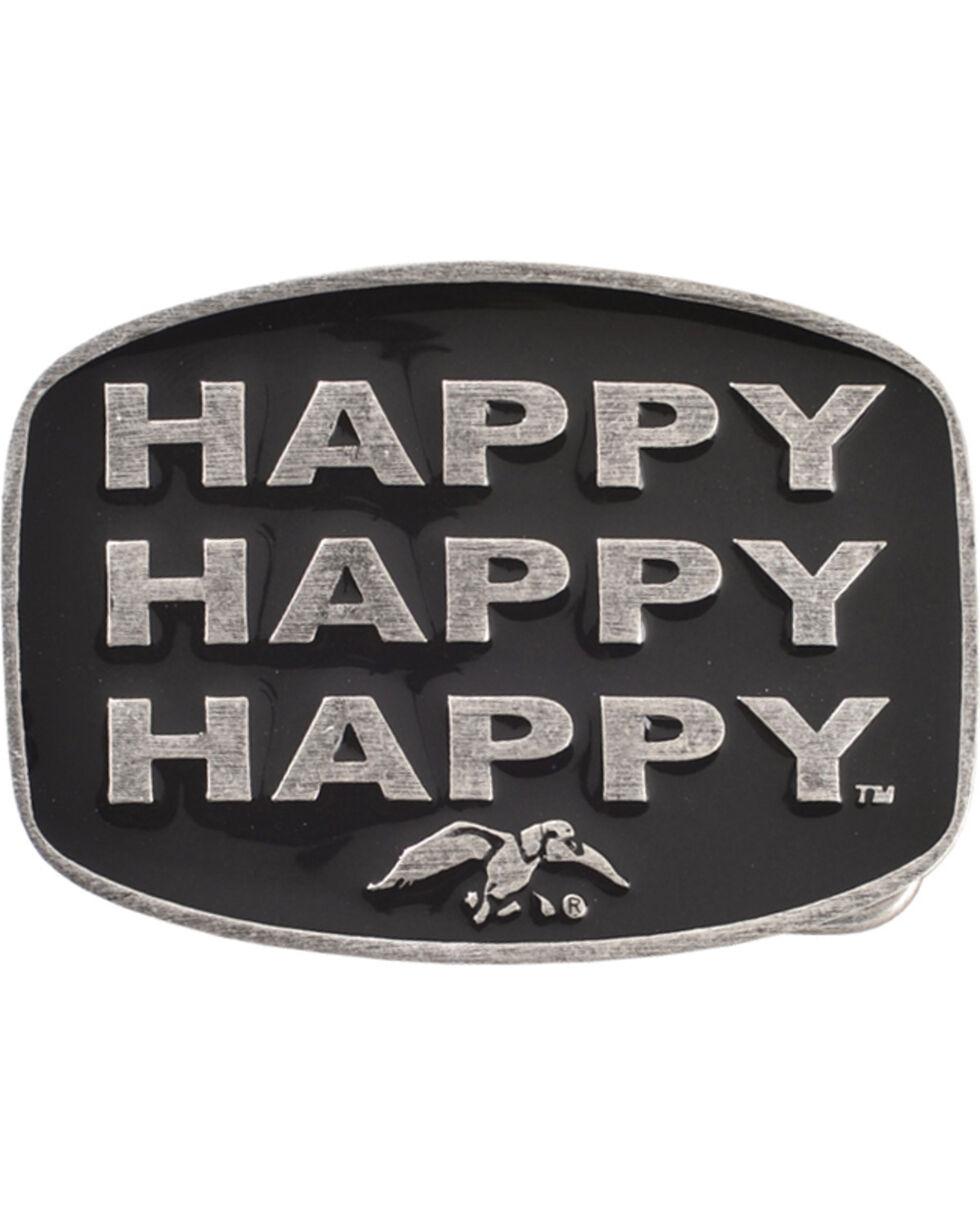 Montana Silversmiths Duck Commander Happy Happy Happy Belt Buckle, Silver, hi-res