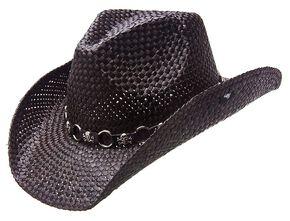 Peter Grimm Vado Skulls & Rings Hat Band Straw Cowboy Hat, Black, hi-res