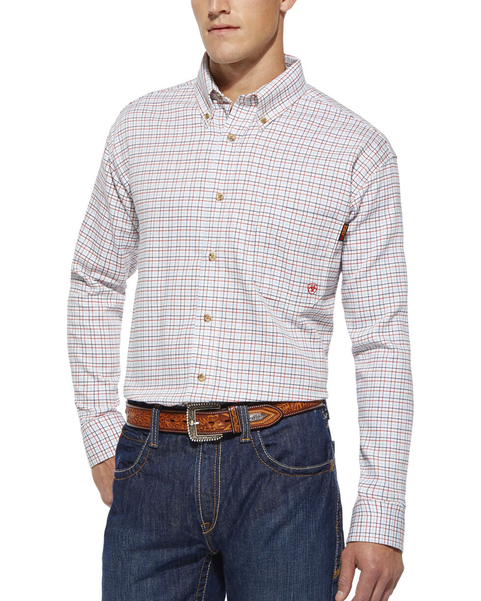 Ariat Flame Resistant Gauge Work Shirt - Big and Tall, White, hi-res
