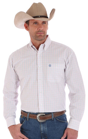 Wrangler Men's White One Pocket George Strait Long Sleeve Shrit , White, hi-res