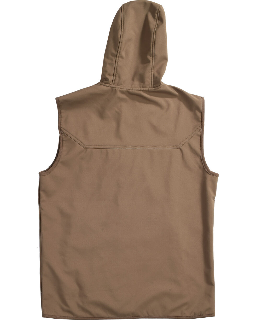 American Worker Men's Brown Crafted Soft-Shell Hooded Vest, Brown, hi-res