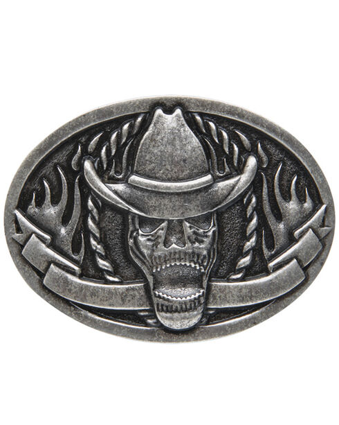 AndWest Men's Cowboy Skeleton Belt Buckle, Silver, hi-res
