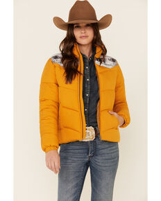 Cruel Girl Women's Gold Sublimated Yoke Quilted Polyfill Puffer Jacket , Gold, hi-res
