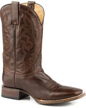 Roper Men's Cassidy Burnished Brown Cowboy Boots - Square Toe, Brown, hi-res
