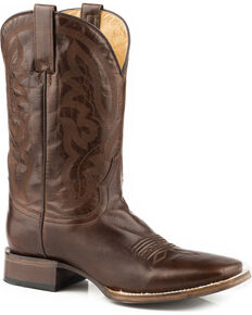 Roper Men's Cassidy Burnished Brown Cowboy Boots - Square Toe, Brown, hi-res