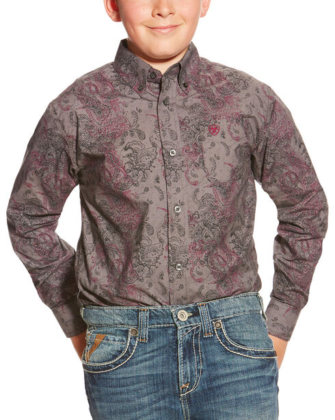 Ariat Boy's Snyder Print Pattern Long Sleeve Shirt, Grey, hi-res