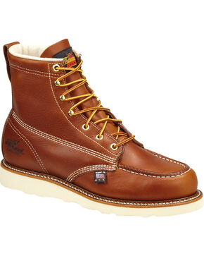 "Thorogood Men's American Heritage 6"" Wedge Work Boots - Steel Toe, Brown, hi-res"