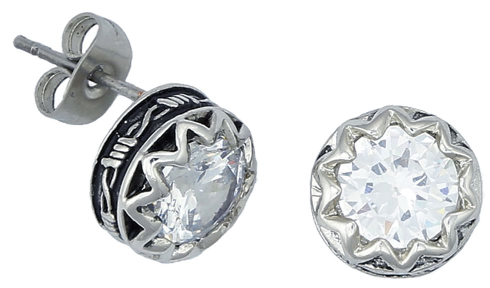Montana Silversmiths Barbed Wire Rhinestone Post Earrings, Silver, hi-res