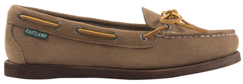 Eastland Women's Khaki Suede Yarmouth Camp Moc Slip-Ons, Tan, hi-res