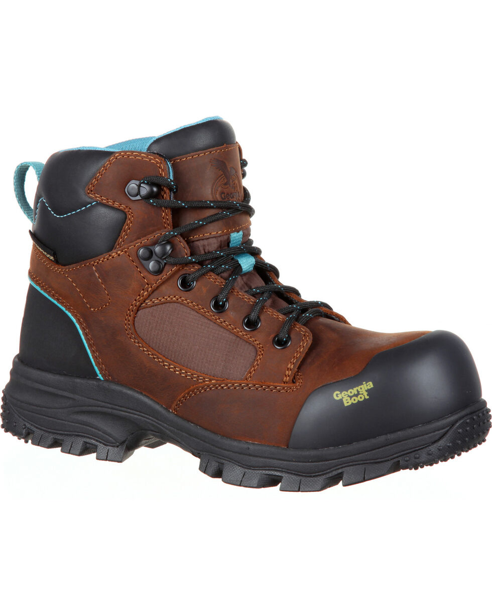 Georgia Women's Blue Collar Water Proof Work Boots - Comp Toe, Brown, hi-res