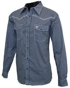Cowboy Hardware Men's Navy Geo Print Long Sleeve Snap Western Shirt , Navy, hi-res