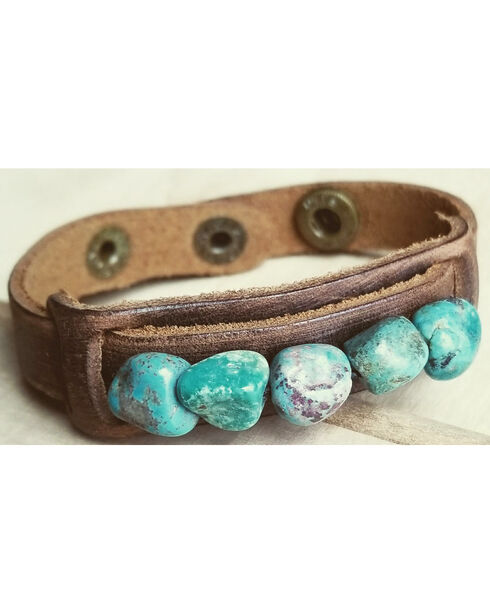 Jewelry Junkie Women's Turquoise Dusty Leather Chunks Narrow Cuff , Turquoise, hi-res