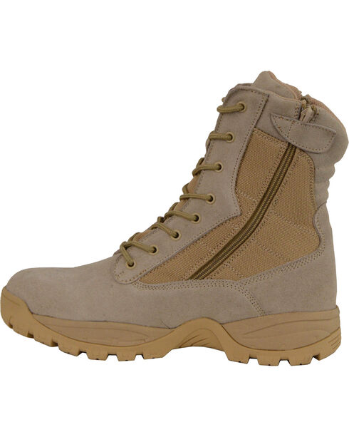 """Milwaukee Leather Men's 9"""" Side Zipper Tactical Boots - Round Toe, Sand, hi-res"""