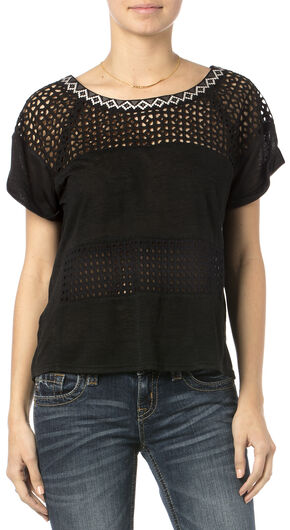 Miss Me Women's Unbeweavable Short Sleeve Top, Black, hi-res