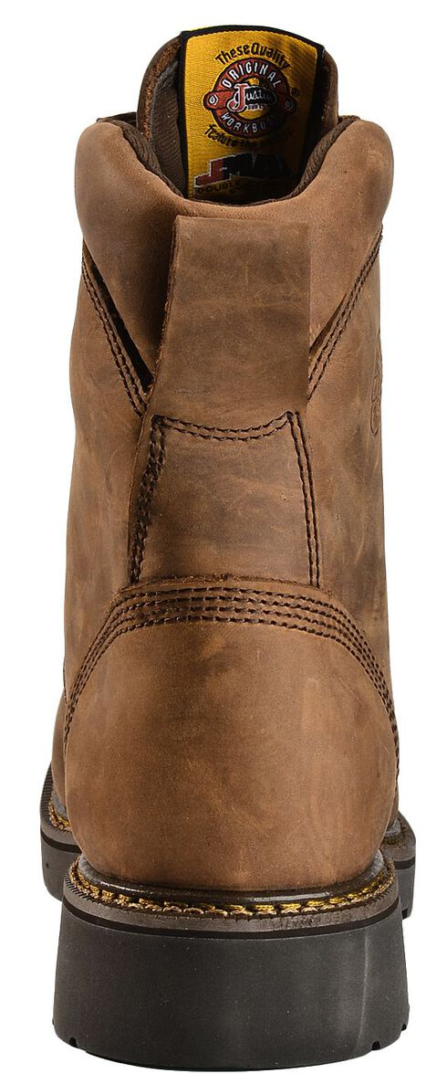 "Justin Original 8"" Lace-Up Work Boots - Round Toe, Aged Bark, hi-res"