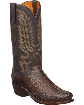 Lucchese Men's Handmade Walter Hornback Caiman Western Boots - Snip Toe, Dark Brown, hi-res
