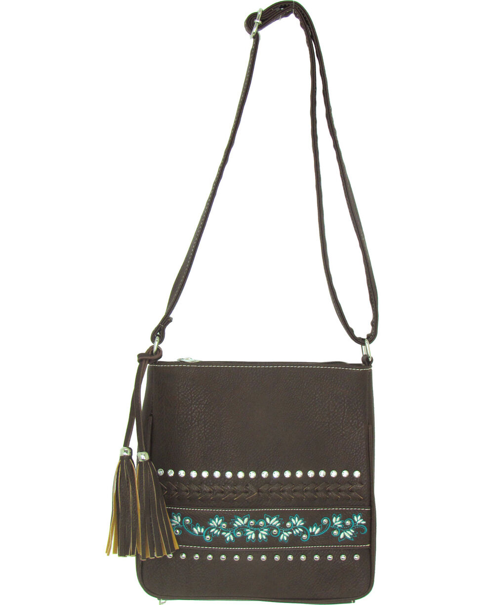 Savana Women's Brown Faux Leather Patchwork Messenger Crossbody , Brown, hi-res