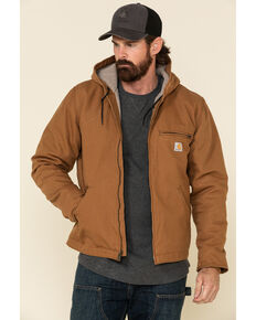 Carhartt Men's Brown Washed Duck Sherpa Lined Hooded Work Jacket , Brown, hi-res