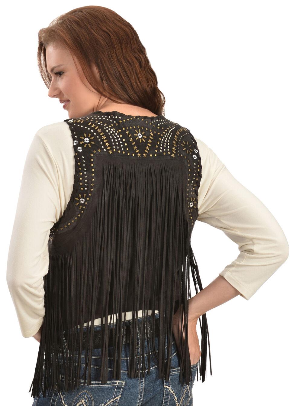 Panhandle Slim Women's Black Suede Fringe Vest, Black, hi-res