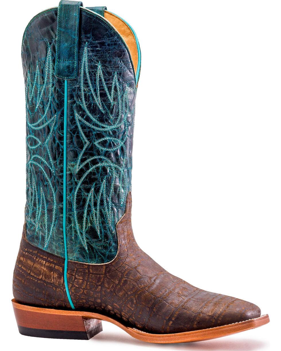 Horse Power Men's Cocoa Vintage Caiman Print Cowboy Boots - Square Toe, Dark Brown, hi-res