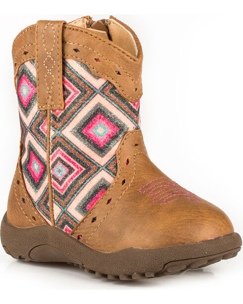 Roper Infant Girls' Cowbaby Glitter Geo Pre-Walker Cowgirl Boots, Tan, hi-res