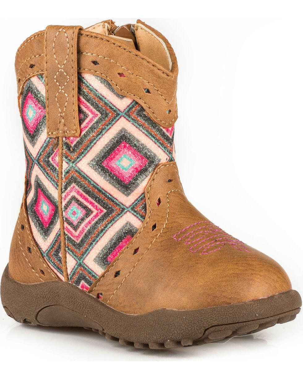 Roper Infant Girls' Cowbaby Glitter Geo Pre-Walker Cowgirl Boots, Tan, hi-res