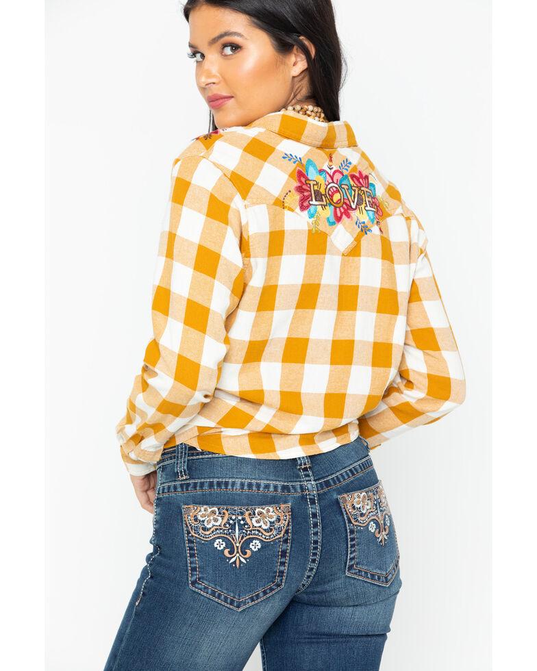 c3627aa1 Zoomed Image Wrangler Women's Retro Plaid Embroidered Long Sleeve Western  Shirt, Dark Yellow, hi-res