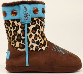 Blazin Roxx Leopard Print Cowgirl Slipper Booties, Brown, hi-res