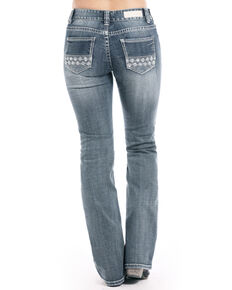 Rock & Roll Cowgirl Women's Vintage Medium Aztec Bootcut Jeans, Indigo, hi-res