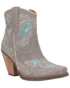 Dingo Women's Grey Tootsie Floral Embroidered Western Fashion Bootie - Snip Toe , Grey, hi-res