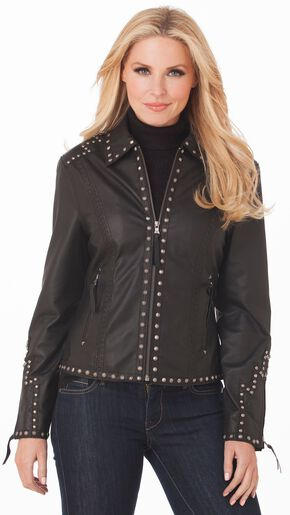 Cripple Creek Studded Leather Jacket, Black, hi-res