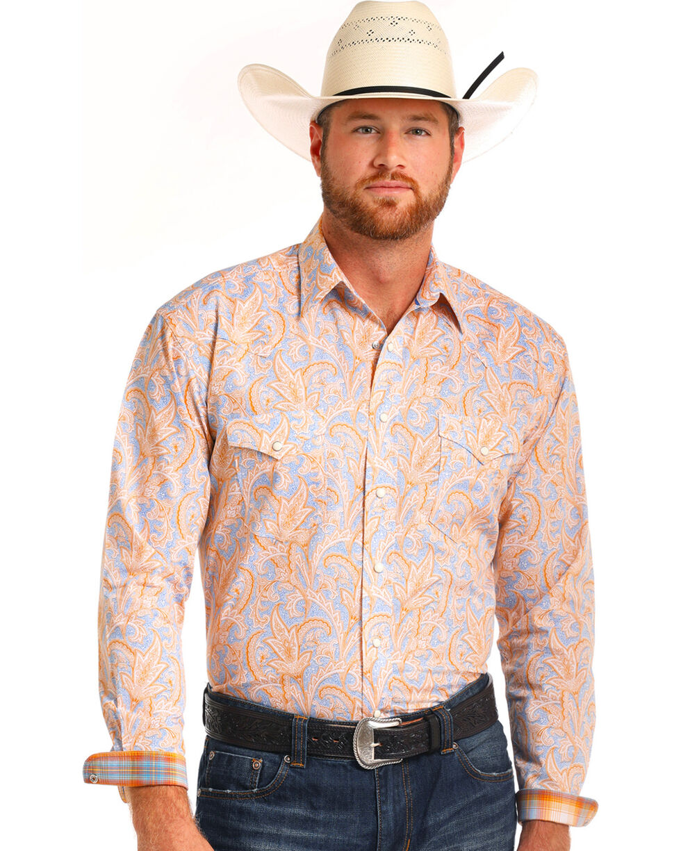 Rough Stock by Panhandle Men's Orange Paisley Shirt , Orange, hi-res