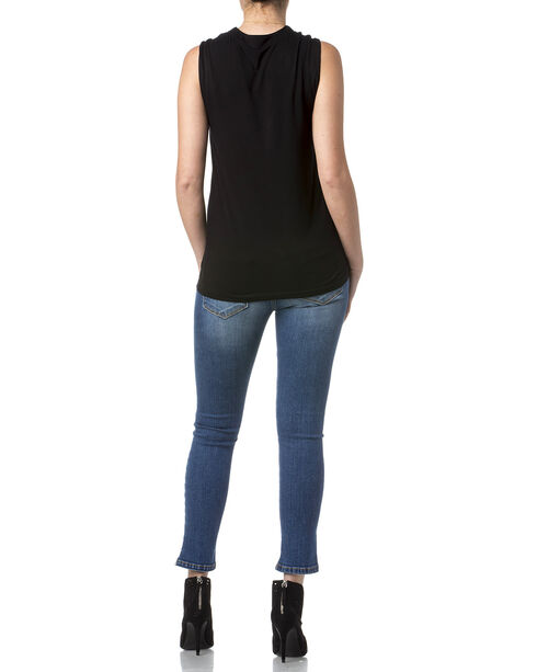 Miss Me Women's Black Caged Lace Up Top , Black, hi-res