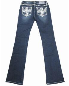 Grace In LA Women's Cross Embroidered Pocket Dark Boot Jeans , Blue, hi-res