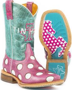 c74e17eb0d6e Tin Haul Girls Pink Little Miss Dotty Horse Boots - Square Toe