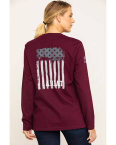 Ariat Women's FR Wine Americana Graphic Long Sleeve Work Tee , Burgundy, hi-res