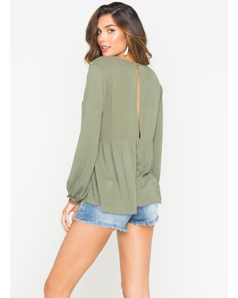 Miss Me Women's Green Embroidered Flowy Top , Green, hi-res