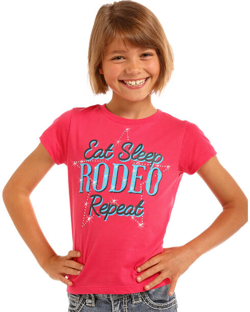 Rock & Roll Cowgirl Girls' Pink Eat Sleep Rodeo Tee , Pink, hi-res