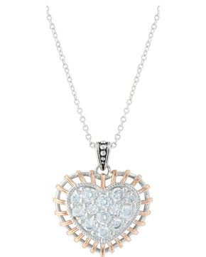 Montana Silversmiths Women's Silver Woven Rose Gold Heart Necklace , Silver, hi-res