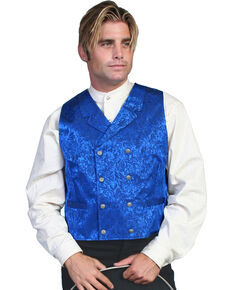 Wahmaker by Scully Floral Silk Double Breasted Vest, Royal, hi-res