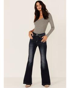 Grace in LA Women's Longhorn Dark Wash Flared Jeans, Blue, hi-res