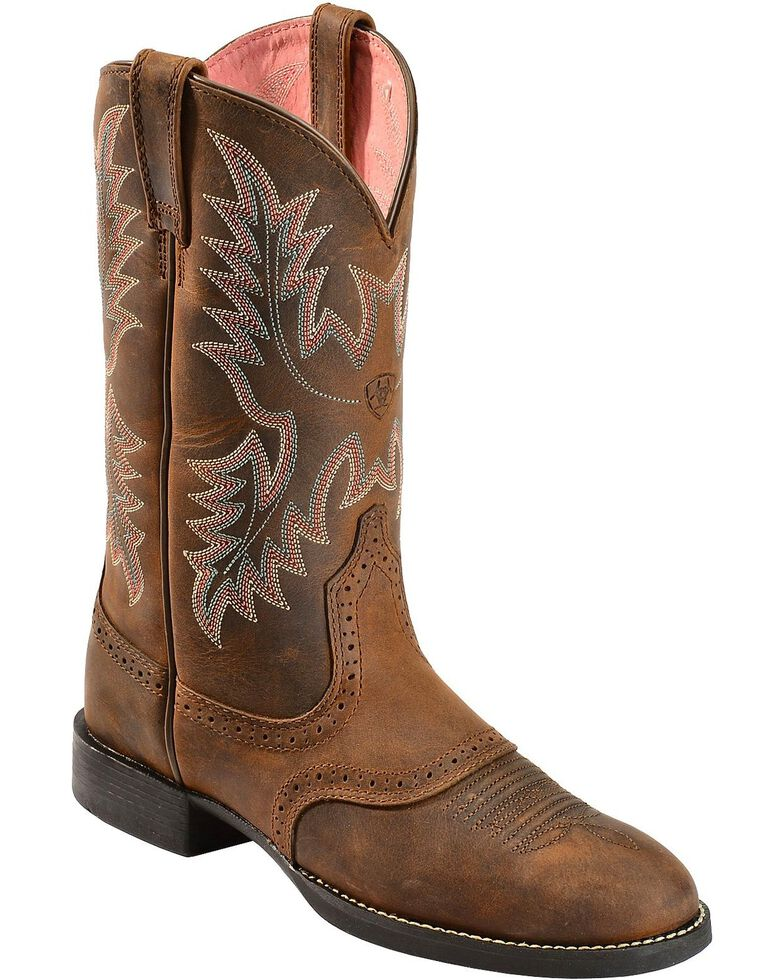 Ariat Women's Heritage Stockman Saddle Vamp Cowgirl Boots - Round Toe, Driftwood, hi-res