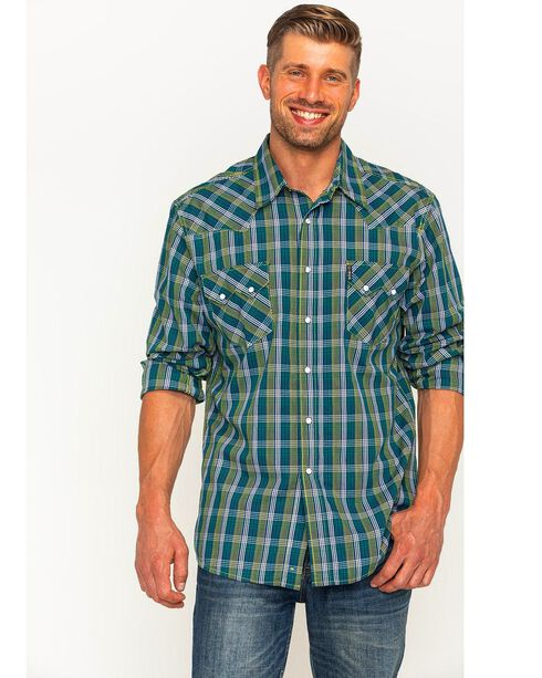 Cinch Men's Green and Blue Modern Fit Plaid Shirt , Multi, hi-res