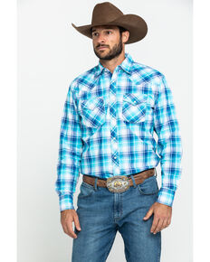 Wrangler 20X Men's Advanced Comfort Blue Poplin Plaid Long Sleeve Western Shirt , Blue, hi-res