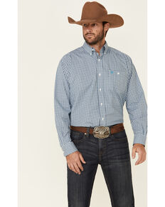 Ariat Men's Brawn Stretch Small Plaid Long Sleeve Western Shirt , Blue, hi-res