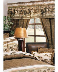 Karin Maki Wild Horses Rod Pocket Curtains , Brown, hi-res