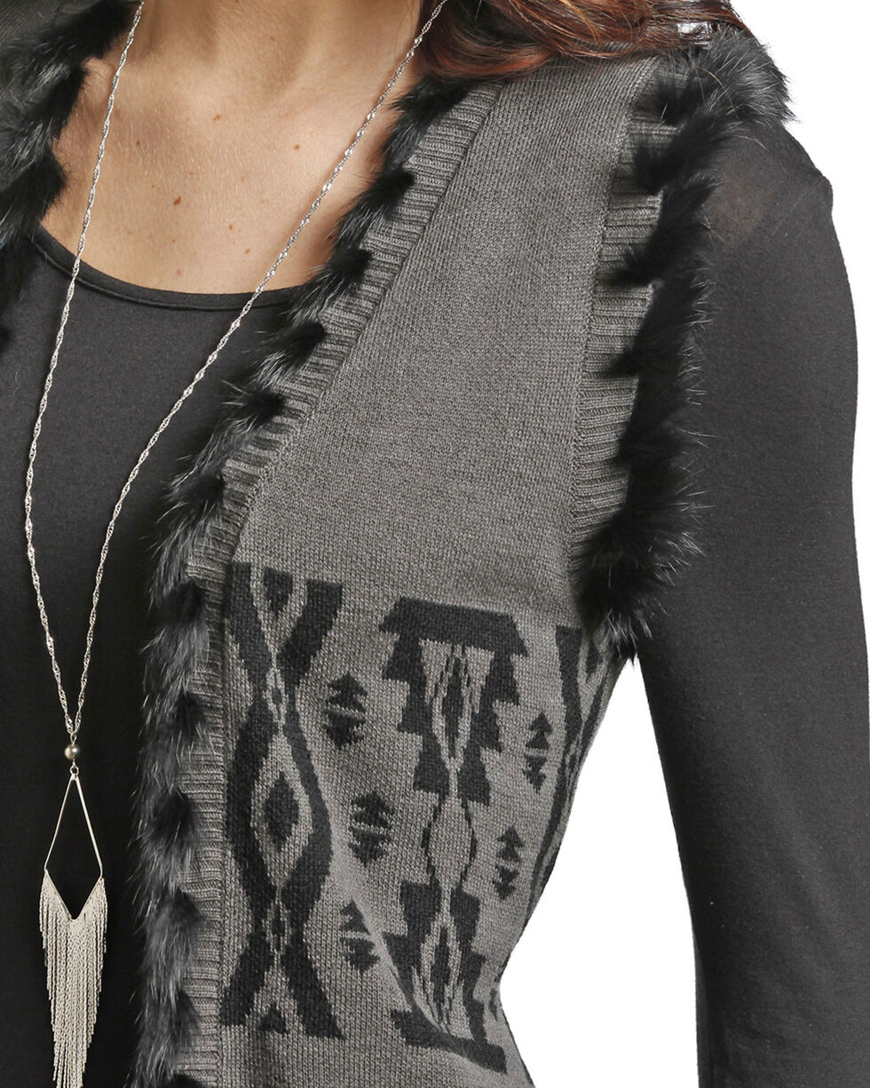 Powder River Outfitters Women's Charcoal Aztec Sweater Vest , Charcoal, hi-res