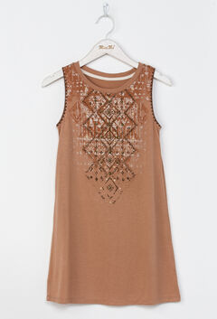 Miss Me Girls' Orange Native Trails Tank Dress , Orange, hi-res